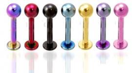 Gekleurde titanium labret / monroe piercing