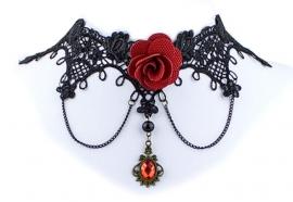 Red Rose - zwarte Gothic kanten choker met rode roos 2