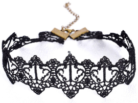 Zwarte Gothic vintage kanten choker
