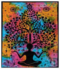 Bedsprei wandkleed tweepersoons Chakra Yogaman Levensboom Gekleurd - 210 X 210 cm