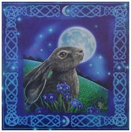 Moon gazing hare wandbord Lisa Parker 28 x 28 cm
