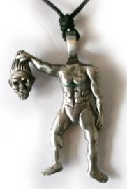 Pewter ketting man zonder hoofd 6.5 cm lang