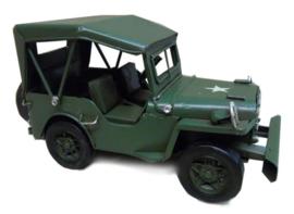 Miniatuur auto oldtimer leger jeep - 17 x 7,5 x 8 cm