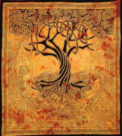 Bedsprei, wandkleed, grand foulard Keltische levensboom oranje - dessin Courtney Davis - 210 x 220 cm