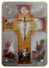 Blikken metalen wandbord Leven van Christus 15 x 20 cm