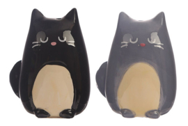 Zout en peper set zwarte en grijze kat 7 cm hoog