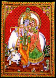 Muurkleed Krishna en Radha met heilige koe rode achtergrond c.a.  80 x 110 cm
