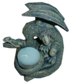 Grijze polystone draak - theelichthouder - 12 cm hoog