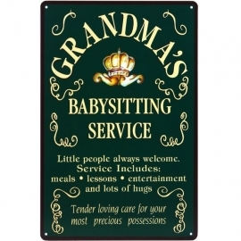 Tin sign Grandma's Babysitting 20 x 30 cm