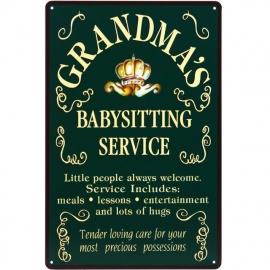 Blikken metalen wandbord Grandma's Babysitting 20 x 30 cm