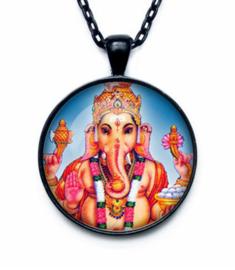 Glazen hanger met ketting Ganesha dessin 4