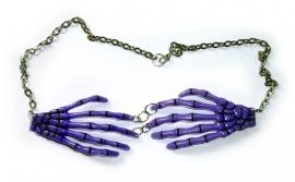 Harajuku skeletale handen nekketting paars
