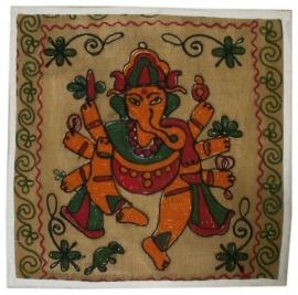 Indiase geborduurde kussenhoes Ganesha beige - 38 x 38 cm