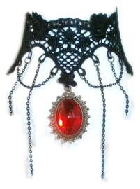 Red Rhinestone and Chains - zwarte Gothic kanten choker
