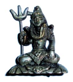 Shiva Mahayogi verzilverde messing 6 cm hoog