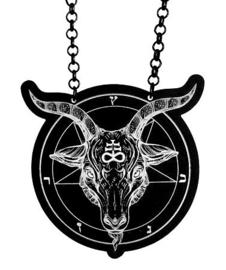 Curiology nekkettinng zwart wit Baphomet Necklace 6 cm doorsnee