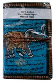Indiase journaal 8 x 13 cm olifant blauw