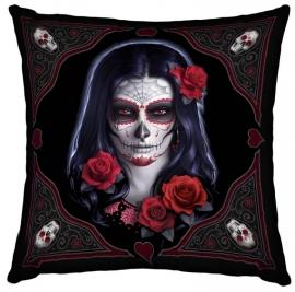 Gevulde kussen Sugar Skull - dessin James Ryman - 42 x 42 cm