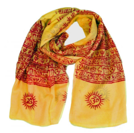 Benares-sjaal Indiaas Hindu Varanasi geel- 60 x 120 cm