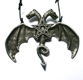 Pewter pendant with 2 headed dragon
