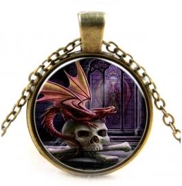 Glazen hanger met ketting Dragon Lord van Anne Stokes