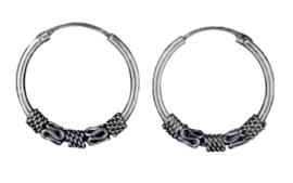925 Sterling zilveren Creole Bali hoepoorbellen - 18 mm