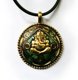 Ketting Tibetan style Ganesha goud - 4 cm doorsnee