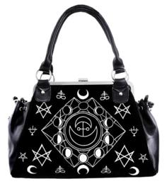 Restyle Gothic Wicca Occult handtas - Symbolic Frame Bag - tas met maantekens