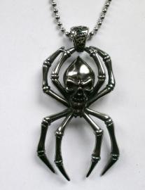 Zeer grote doodskop spin ketting 316 titanium staal - 8.5 cm lang