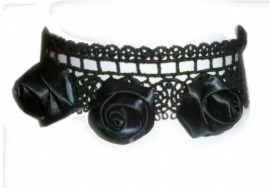 The Black Roses - Gothic zwarte kanten choker