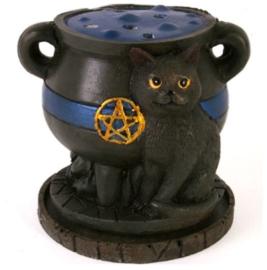 Wierookkegelbrander heksenketel kat - 8 cm hoog