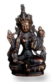 Groene Tara - messing beeld - 7,5 cm hoog