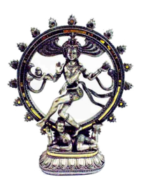 Shiva Nataraj dansend in ring van vuur zilverkleurig beeld 33 cm hoog