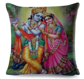 Kussenhoes Hindu God - Krishna en Radha - 45 x 45 cm