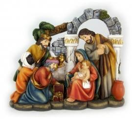 Kerststuk heilige familie en drie wijzen mannen - 14 cm hoog