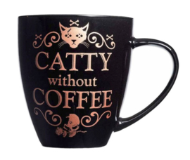 Alchemy of England - zwarte keramieke koffie mok - Catty without Coffee - 10,9 cm hoog