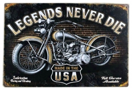 Blikken metalen wandbord Legends never die - 20 x 30 cm