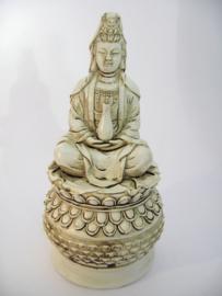 Quan Yin wierook / kegel brander 18 cm hoog wit