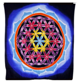 Batik wandkleed Bloem van Leven en Liefde - 107 x 103 cm