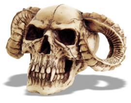 Doodskop Demoon Duivel met Horens en scherpe Tanden  - 15 x 25 x17 cm