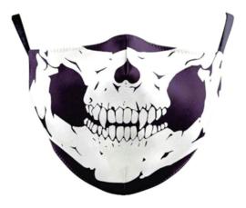Klassieke doodskop herbruikbaar gezichtsmasker 13 x 39 cm