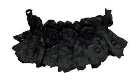 Luxe Gothic choker - zwarte kant met zwarte rozen - Darkstar Jordash