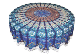 Ronde mandala doek bedsprei wandkleed tafelkleed vloerkleed blauw groen - 180 cm doorsnee