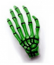 Harajuku skeletale hand haarschuifje groen