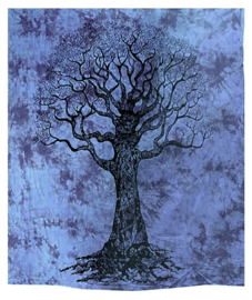 Bedsprei wandkleed grand foulard levensboom zwart blauw 210 x 230 cm