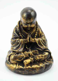 Shaolin monnik beeld bronskleurig 8.5 X 8.5 X 9 cm