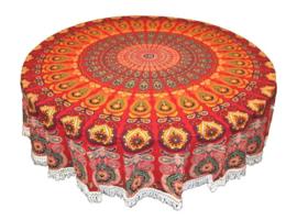 Ronde mandala doek bedsprei wandkleed tafelkleed vloerkleed oranje rood - 180 cm doorsnee