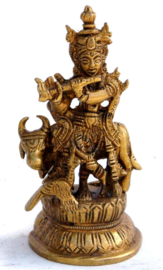 Krishna met heilige koe - messing beeld - 10 cm hoog