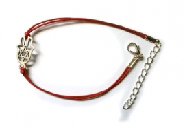 Red wax cord bracelet with Hand of Miriam