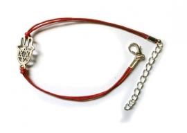 Rood waskoord armband met Hand van Mirjam